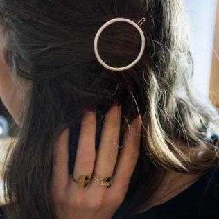 Attache cheveux Rond argenté