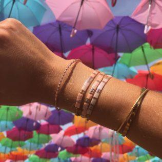 Bracelet Kara – Rose avec séparateurs transparents
