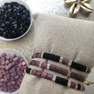 Bracelet Kara – Violet et Noir avec séparateurs transparents