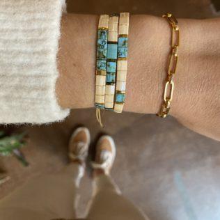 Bracelet Kara – Turquoise et Beige