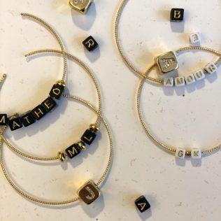 Jonc Personnalisable – Perles Noires