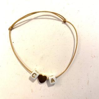Bracelet Initiales – Lettres écriture dorée – Coeur Doré