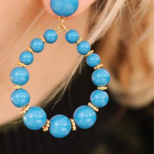 Boucles d'Oreilles Vinta Bleu