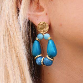 PRE COMMANDE – Boucles d'Oreilles Goldy Bleu
